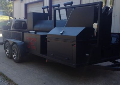 Large Black Trailer with Smoker