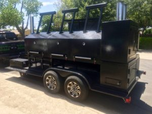 custom BBQ smoker and kitchen on a trailer
