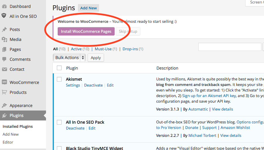 easily install woo commerce plugin wordpress