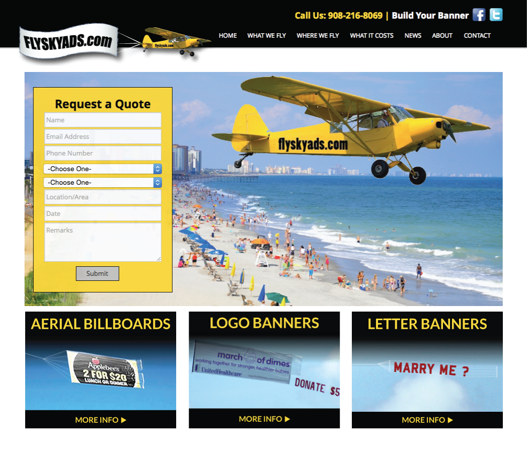 Aerial Advertising Website in NJ