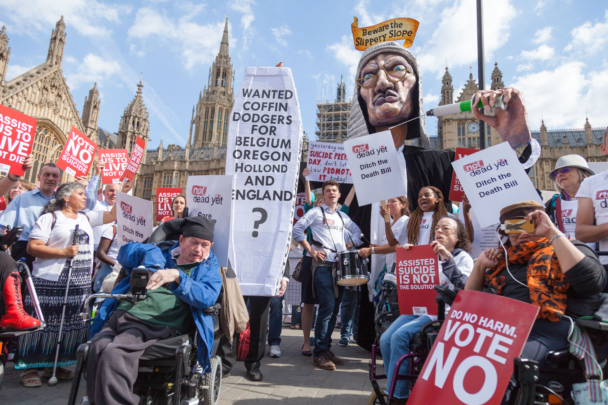 Not Dead Yet UK protests an assisted dying bill at Parliament.