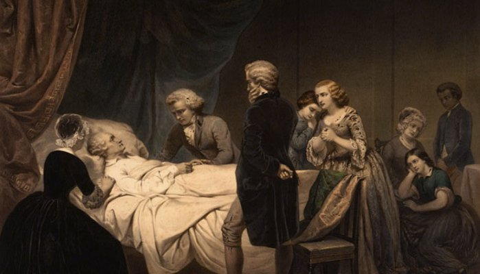 An old painting showing people gathered around the bed of someone dying.