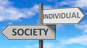 Signposts pointing in opposite directions one labelled individual the other Society