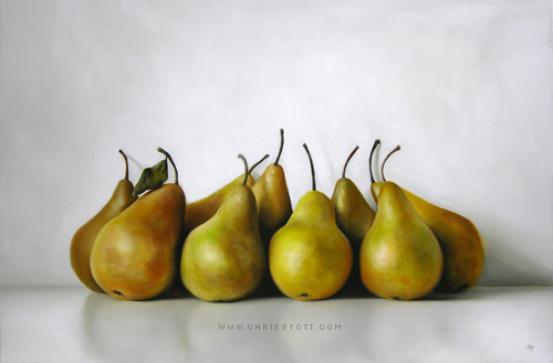 Nine Pear Huddle / 20 x 30 / oil on canvas / 2009
