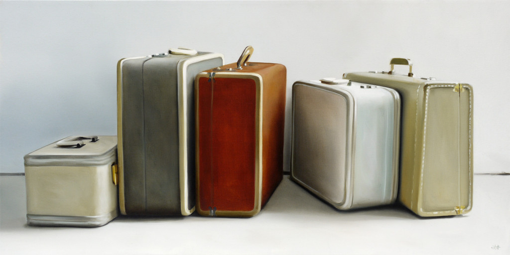 Oil Painting of Vintage Luggage
