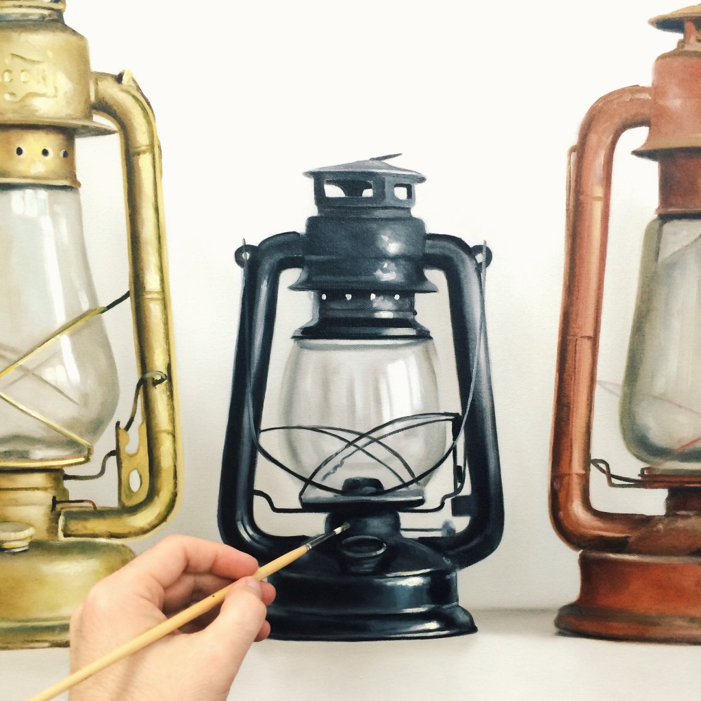 Lanterns oil painting, work in progress, Christopher Stott