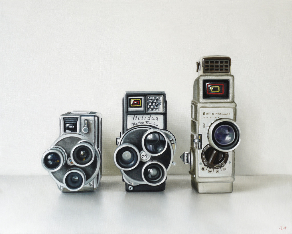 Three Vintage 8mm movie cameras oil painting by Christopher Stott