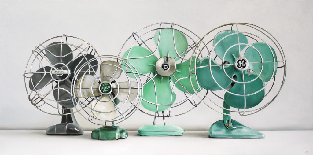 Christopher Stott Painting / Four Vintage Fans