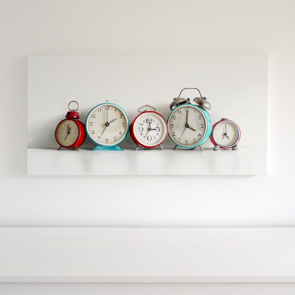 Five Vintage Alarm Clocks / 18 x 36 / oil on canvas / by Christopher Stott