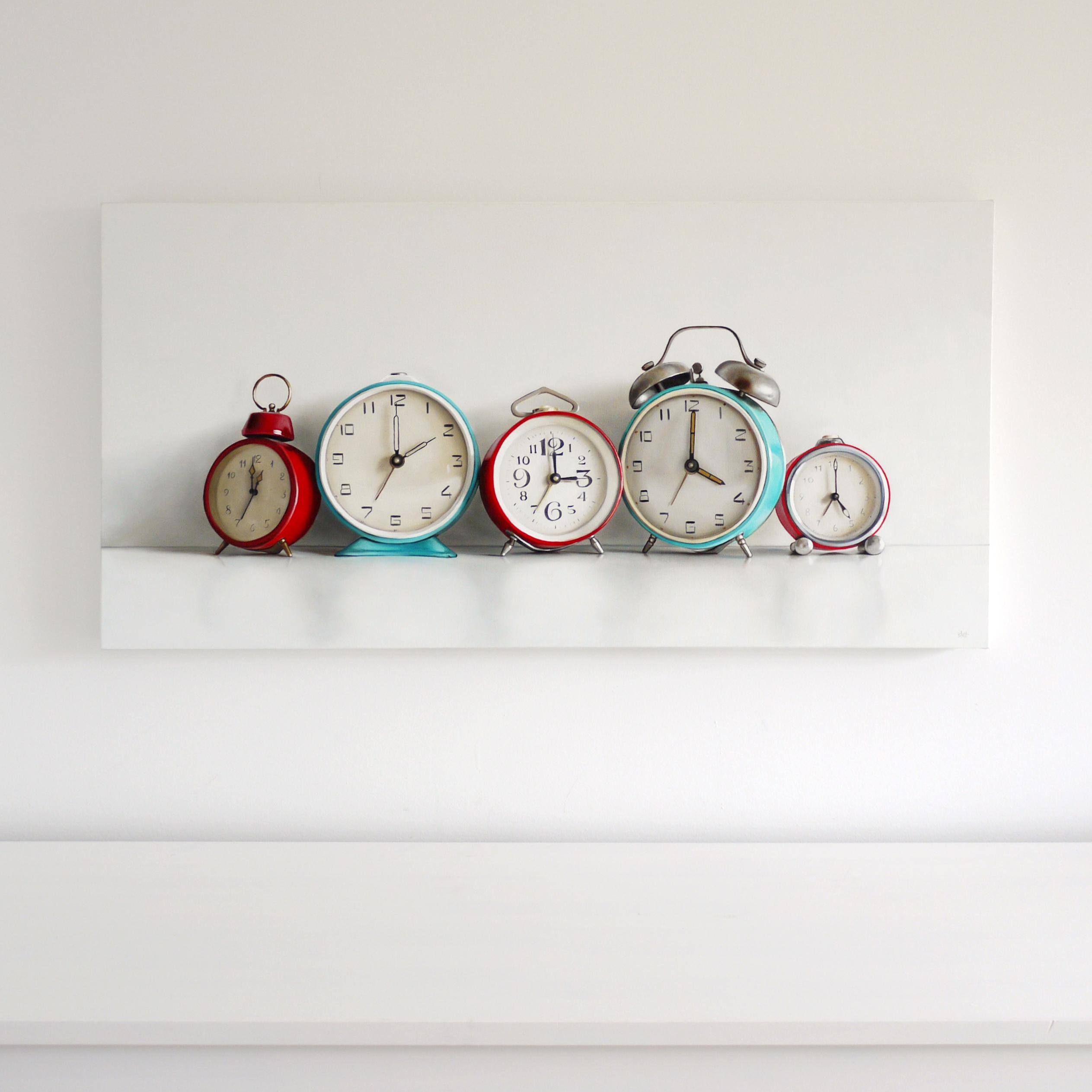 Five Vintage Alarm Clocks / 18 x 36