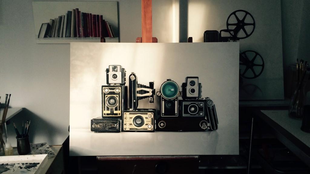 Vintage Camera Painting in Progress