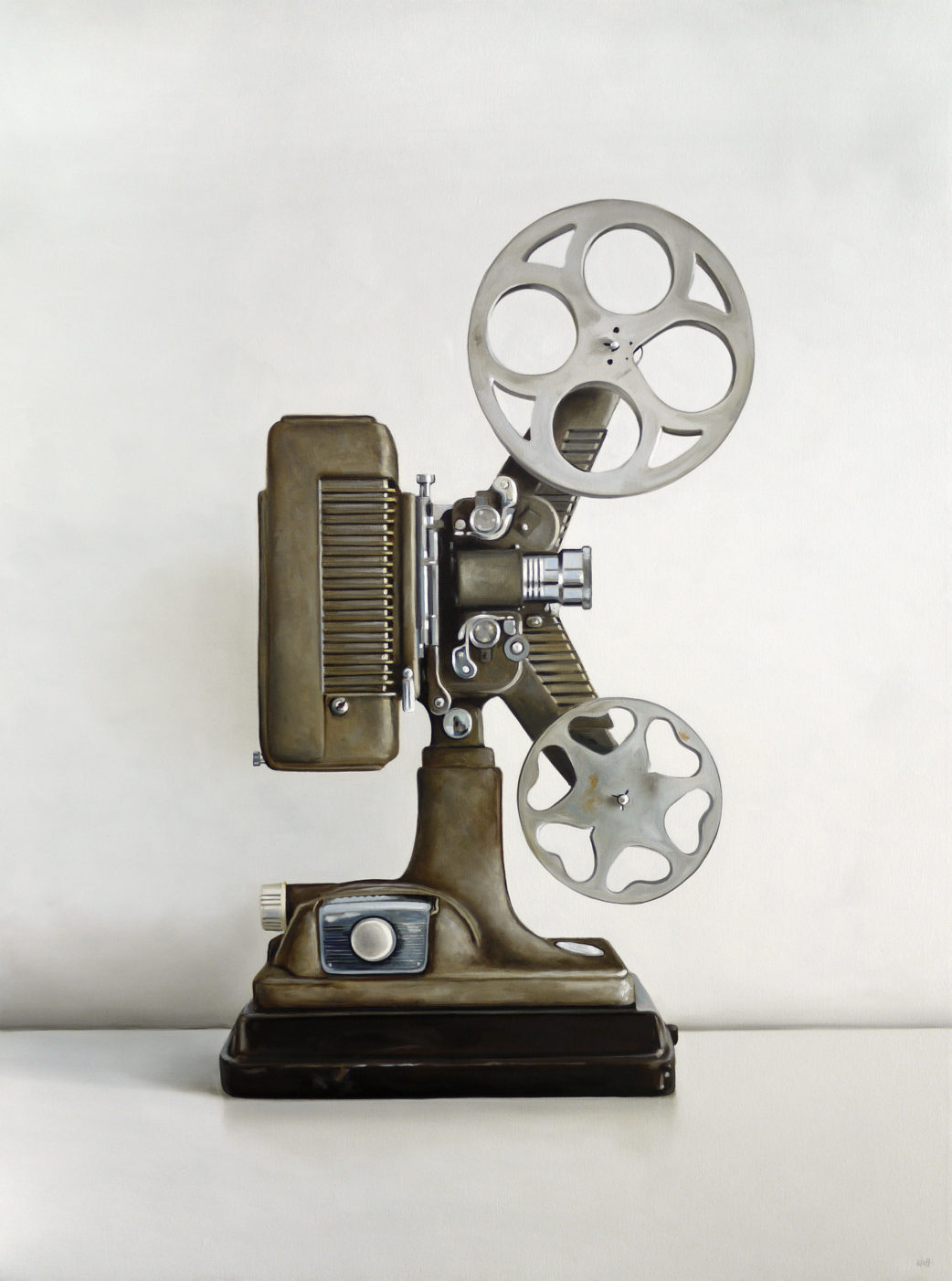 Revere 16MM Film Projector Oil Painting by Christopher Stott