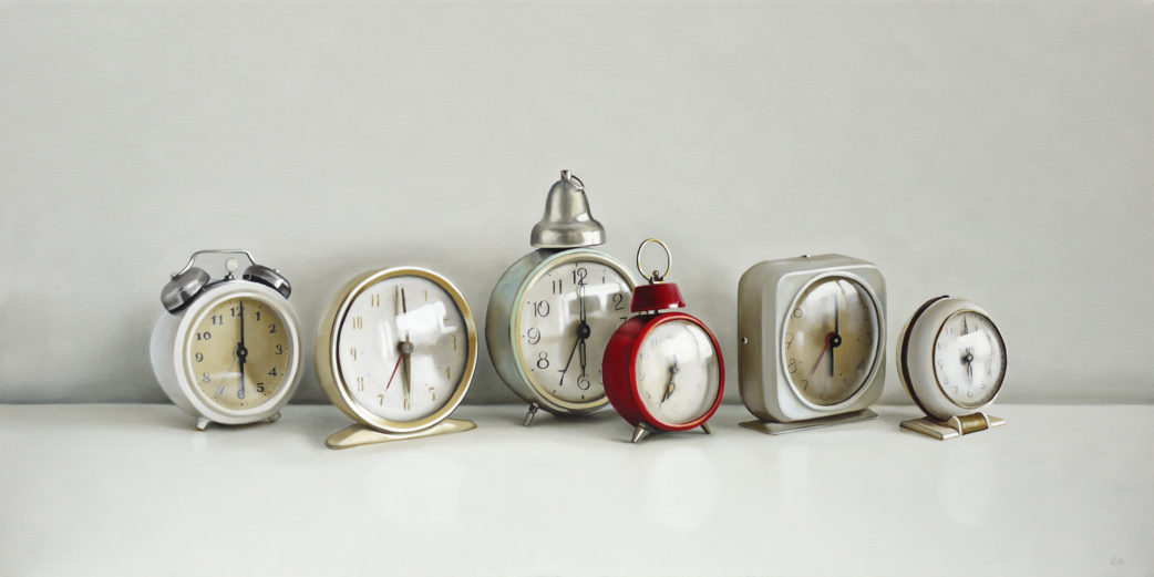 Six Vintage Clocks Oil Painting by Christopher Stott