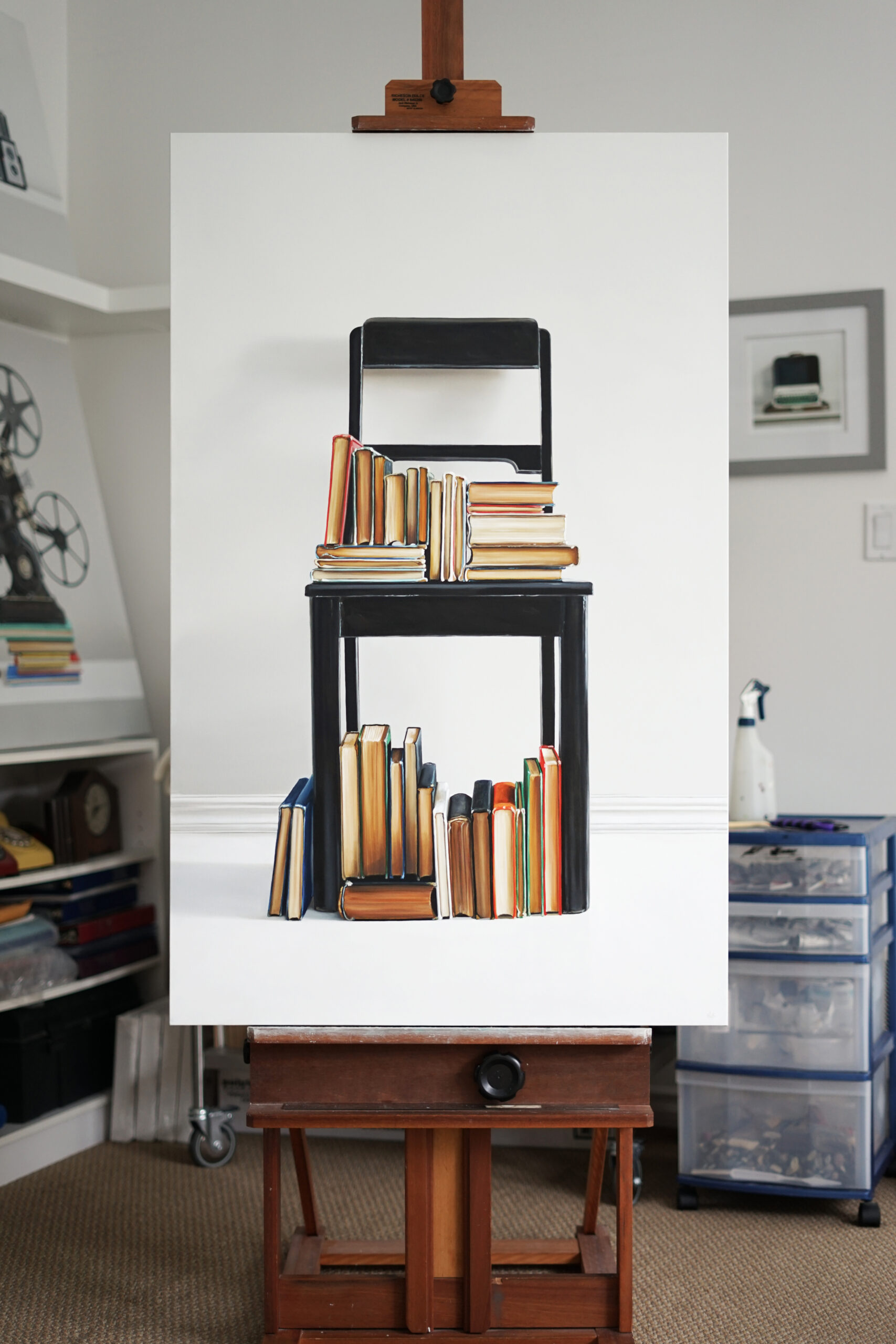 Chair and Books Two Painting by Christopher Stott