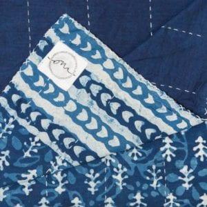 "Bagru-Indigo-Kantha-Oni-Fabrics - SS17 - ""Kanthas"" Bedspreads - oni earth-kind fabrics"