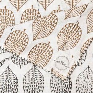 Harare-Leaf-Black-Brown-Kantha-Oni-Fabrics-SS17 - Quilts - oni earth-kind fabrics