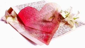 Translucent heart covering image of handwritten letter signifying the letter written on a Christian heart by the Holy Spirit.