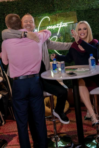 Hugs with Donnie Wahlberg and Jenny McCarthy - September 2017