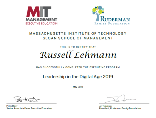 "Russell Lehmann graduation certificate from the Ruderman Family Foundation's ""Leadership in the Digital Age"" at MIT Sloan School of Management, May 2019"