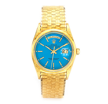 A Gold Wristwatch with Blue Dial, Ref. 1806, by Rolex, circa 1970