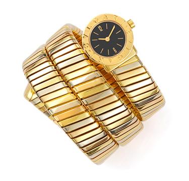 A Tri-colored Gold Wrist Watch, by Bulgari