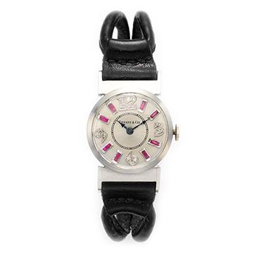An Art Deco Ruby, Diamond and Platinum Wristwatch, by Tiffany & Co, circa 1920