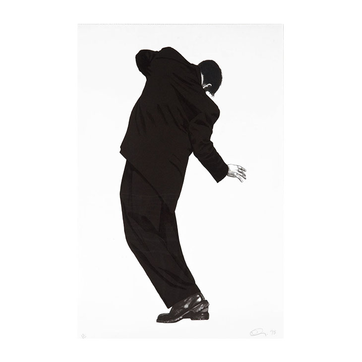 """Raphael (from Men in the Cities), Robert Longo, 1998. #13 of 120, Lithograph on Rives BFK paper, Signed and dated lower right; edition lower left, sheet 45.875"""" x 30""""; frame 52"""" x 36"""""""