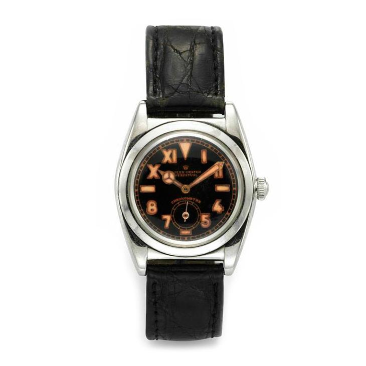 Rolex: A Black Dial Bubble Back Steel Wristwatch, circa 1940