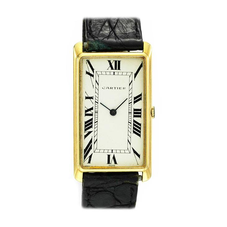 An 18k Gold Elongated Tank Wristwatch, by Cartier, circa 1950