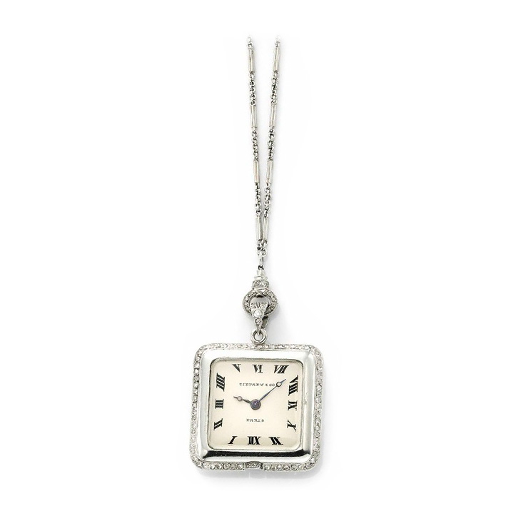 An Art Deco Diamond and Platinum Pendant Watch, by Tiffany & Co., circa 1915