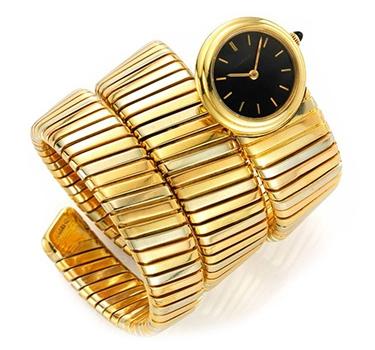 A Tri-colored Gold Tubogas Watch, By Bulgari, Circa 1985