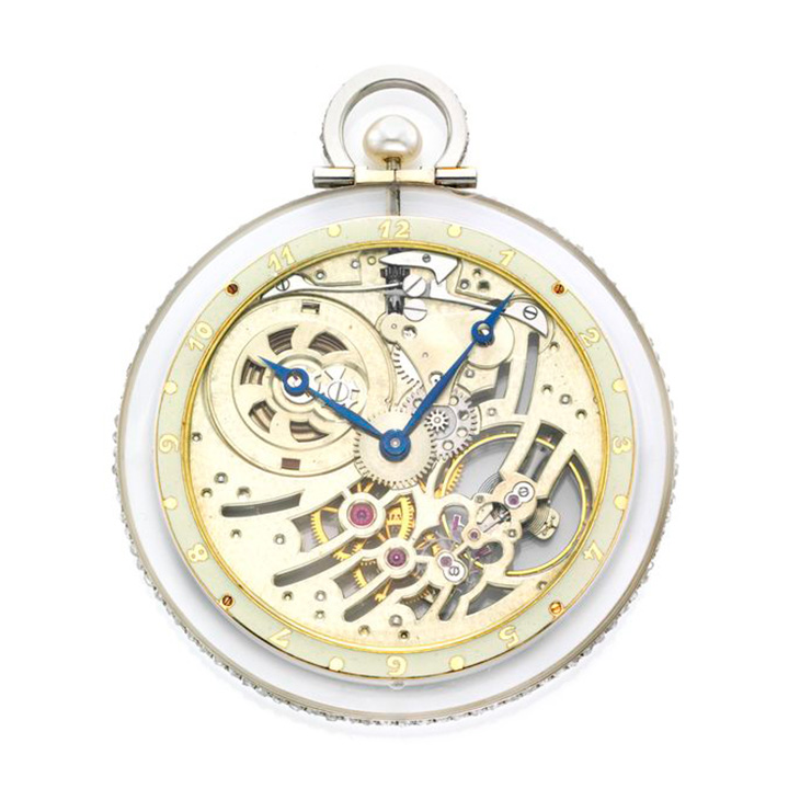 An Art Deco Rock Crystal, Pearl and Diamond Skeleton Dial Pocket Watch, by Van Cleef & Arpels, circa 1920