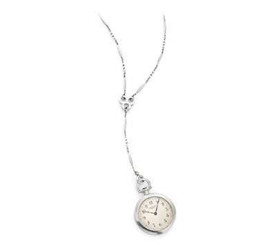 An Art Deco Platinum Pendant Pocket Watch, by Cartier