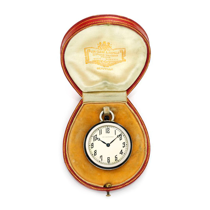 An Art Deco Diamond, Onyx and Platinum Pocket Watch, by Van Cleef & Arpels, circa 1930
