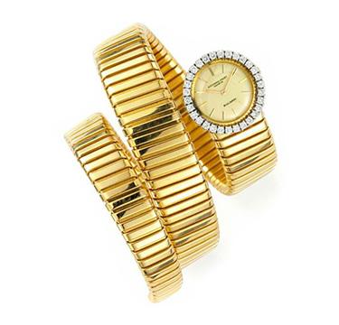 A Gold and Diamond Tubogas Wristwatch, by Bulgari, circa 1970