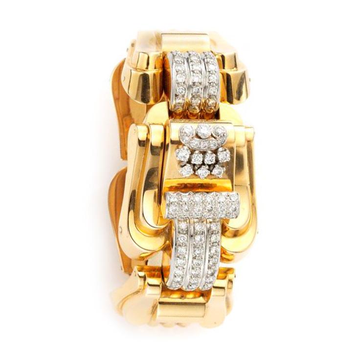 A Retro Gold and Diamond Bracelet Watch, circa 1940