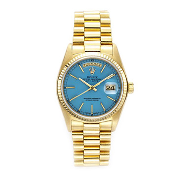 Rolex Gold Date Just Ref: 1803 Oyster Perpetual 'Stella' Wristwatch with Blue Lacqured Dial, circa 1970s