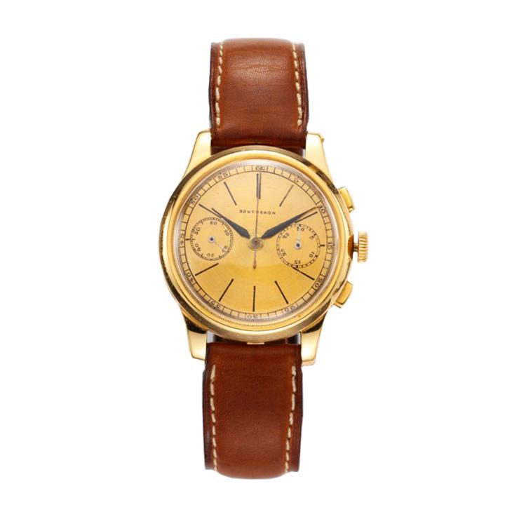 A Gold Chronograph Wristwatch, by Boucheron, circa 1940
