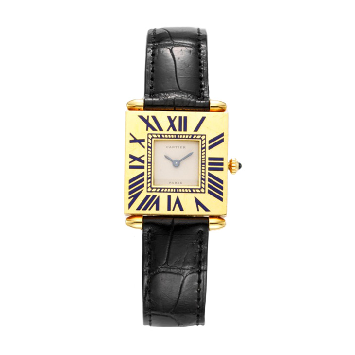 """A Gold and Enamel """"Quadrant"""" Wristwatch, by Cartier"""