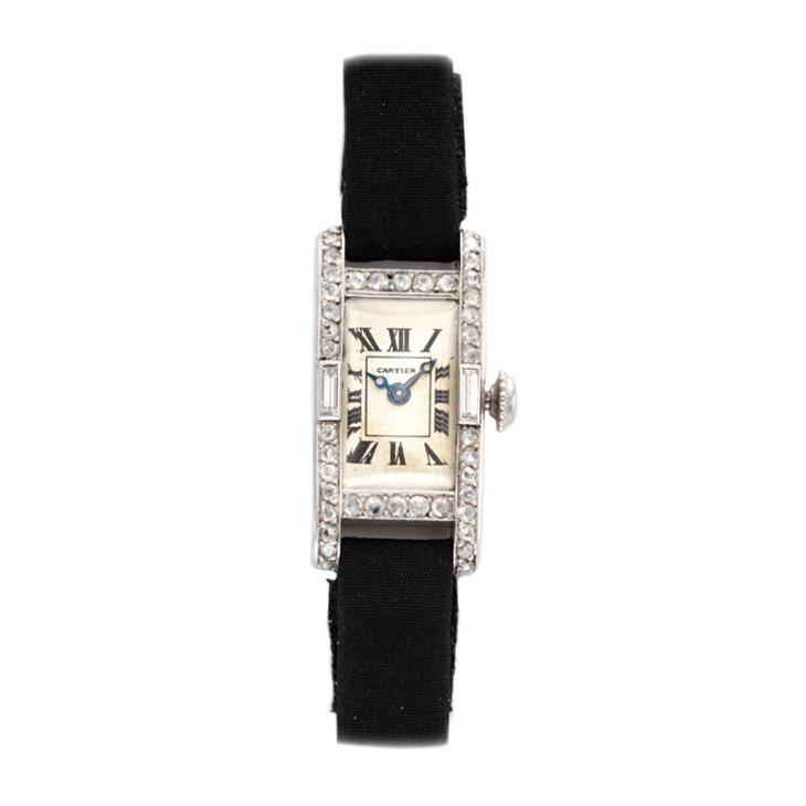 An Art Deco Diamond and Platinum Wristwatch, by Cartier, circa 1925