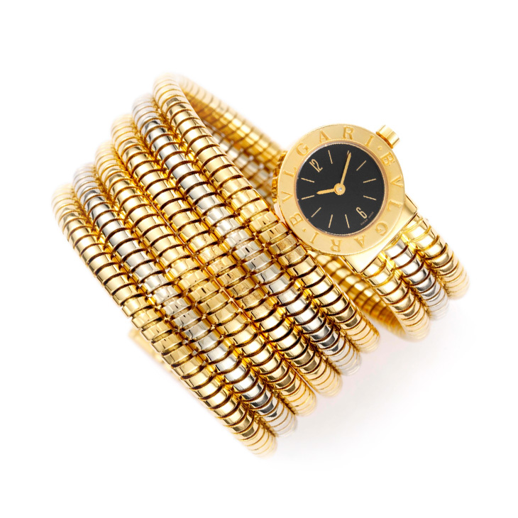 A Bi-colored Gold Tubogas Wristwatch, by Bulgari