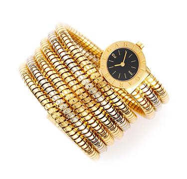 A Bi-colored Gold Tubogas Wristwatch, by Bulgari