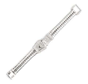 A Retro Diamond Bracelet Watch, by Mauboussin, circa 1940