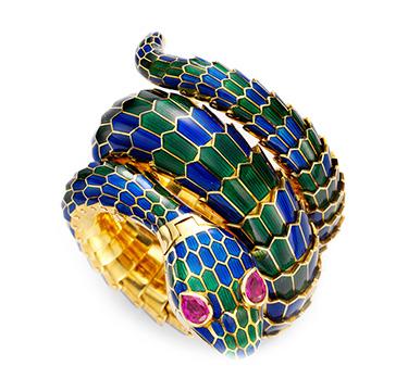 An Enamel, Gold and Ruby 'Snake' Watch, by Bulgari, circa 1960