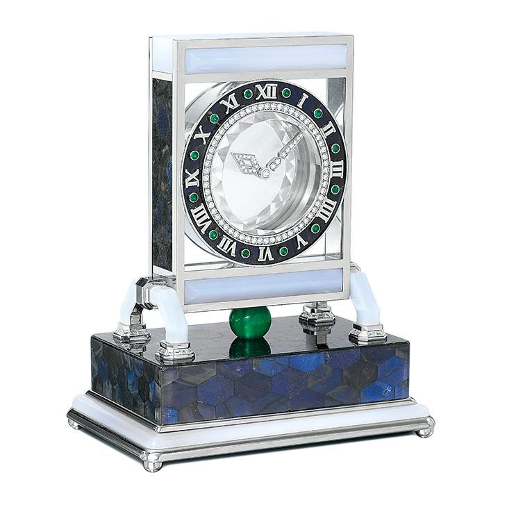 A Rock Crystal and Multi-Gem 'Mystery Clock', circa 1980, by Cartier
