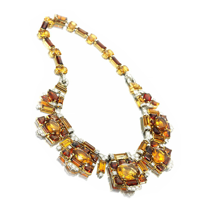 A Retro Citrine, Diamond and Gold Necklace, with maker's mark for Cartier London, by Cartier, circa 1940