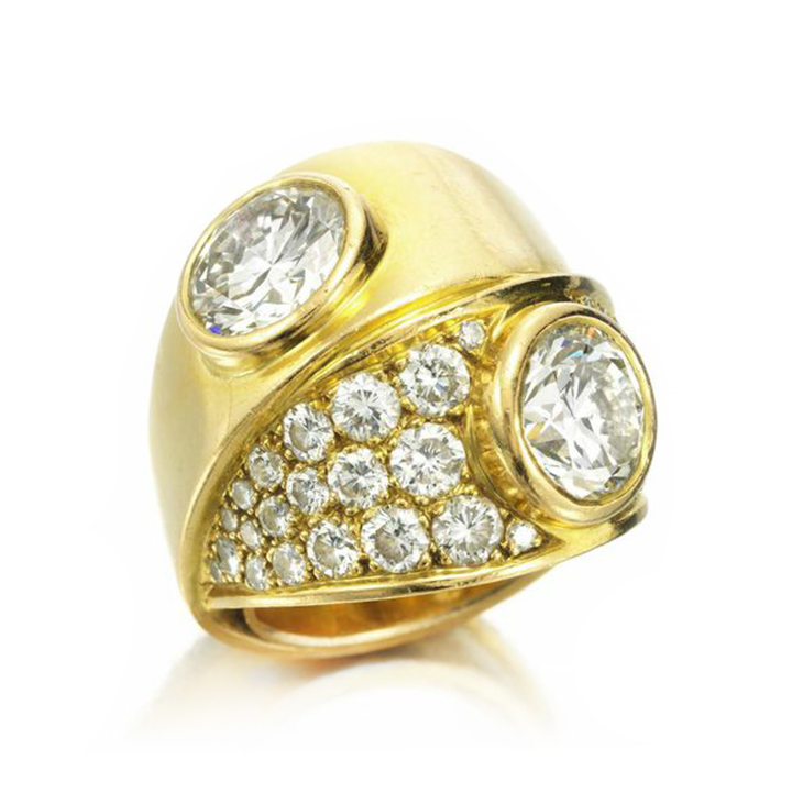 A Gold and Twin Stone Diamond Ring, of approximately 4.00 carats, by Boivin, circa 1940
