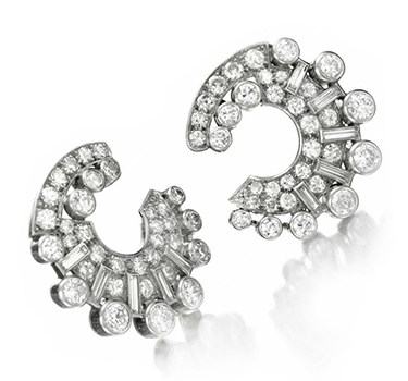 A Pair Of Art Deco Diamond And Platinum Creole Hoop Ear Clips, By Van Cleef & Arpels, Circa 1935