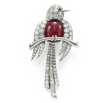 A Ruby and Diamond Bird of Paradise Brooch, by Van Cleef & Arpels, circa 1950