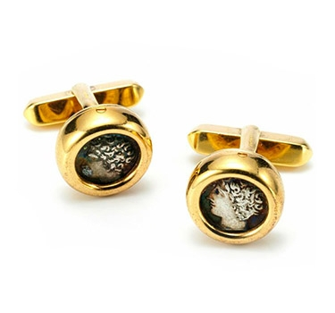 A Pair Of Ancient Coin And Gold Cufflinks, By Bulgari